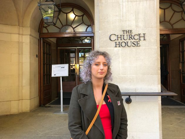 Lauren Palmer who lost both of her parents to the contaminated blood scandal arrives at the inquiry this