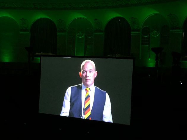 Tony Farrugia giving testimony in the film shown at the commemoration