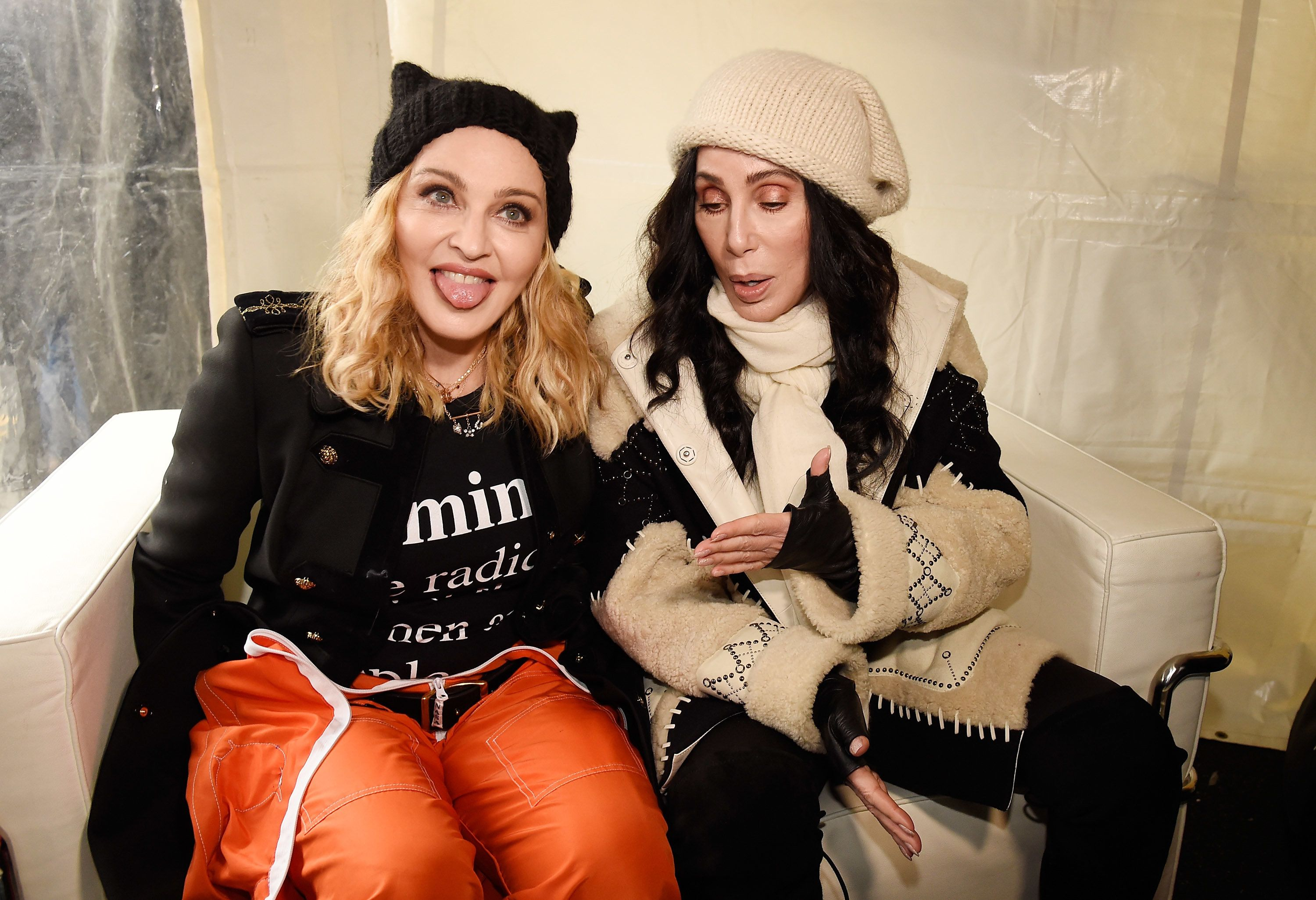 WASHINGTON, DC - JANUARY 21:  Madonna (L) and Cher attend the rally at the Women's March on Washington on January 21, 2017 in Washington, DC.  (Photo by Kevin Mazur/WireImage)