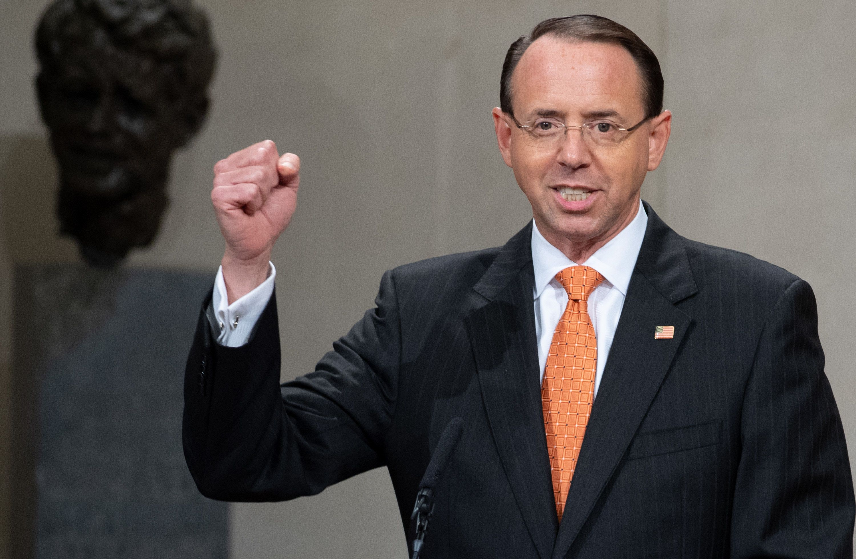 US Deputy Attorney General Rod Rosenstein speaks during the Second Annual Attorney General's Award for Distinguished Service in Policing at the Department of Justice in Washington, DC, September 18, 2018. (Photo by SAUL LOEB / AFP)        (Photo credit should read SAUL LOEB/AFP/Getty Images)