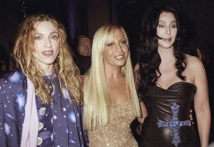 Madonna, Donatella Versace and Cher attending the 1998 Metropolitan Museum of Art Costume Institute gala.