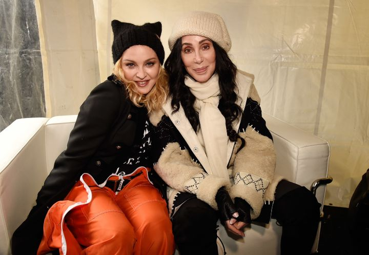 Madonna and Cher sit together during the Women's March on Washington on Jan. 21, 2017.