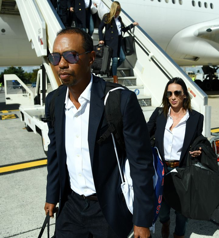 Tiger Woods and girlfriend&nbsp;Erica Herman arrive in Paris on Monday before the Ryder Cup.<br /><br /><i></i>