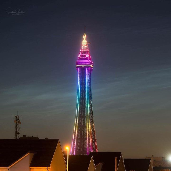 Blackpool Tower was lit up in rainbow colors in solidarity with LGBTQ people during the weekend of theLancashire Festiv