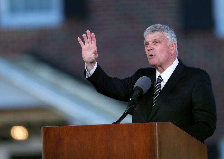Franklin Graham delivers a sermon at a memorial service for his father on March 2. Graham headlined at the Lancashire Festiva