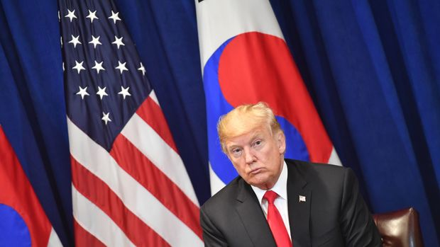 US President Donald Trump looks on during a bilateral meeting with South Korean President Moon Jae-in in New York on September 24, 2018, a day before the start of the General Debate of the 73rd session of the General Assembly. (Photo by Nicholas Kamm / AFP)        (Photo credit should read NICHOLAS KAMM/AFP/Getty Images)
