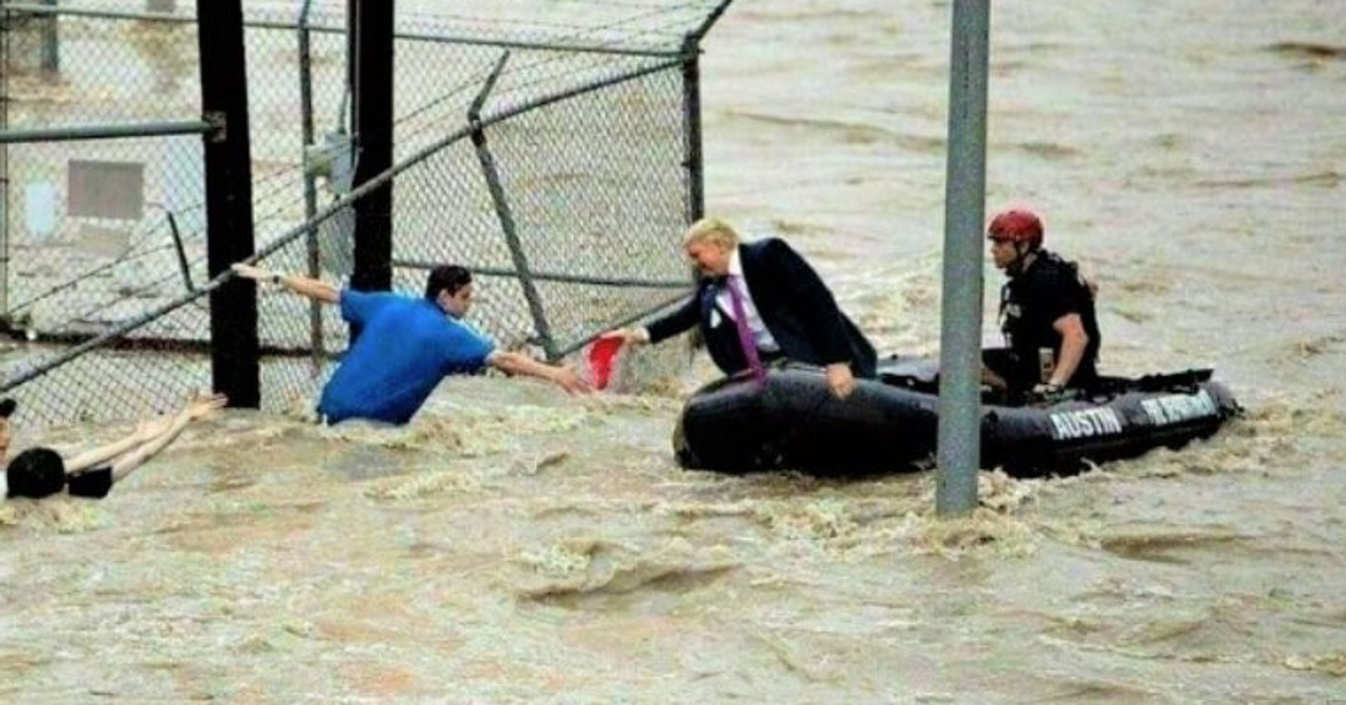 Fake Photo Of Trump 'Rescuing' Flood Victims Goes Viral | HuffPost