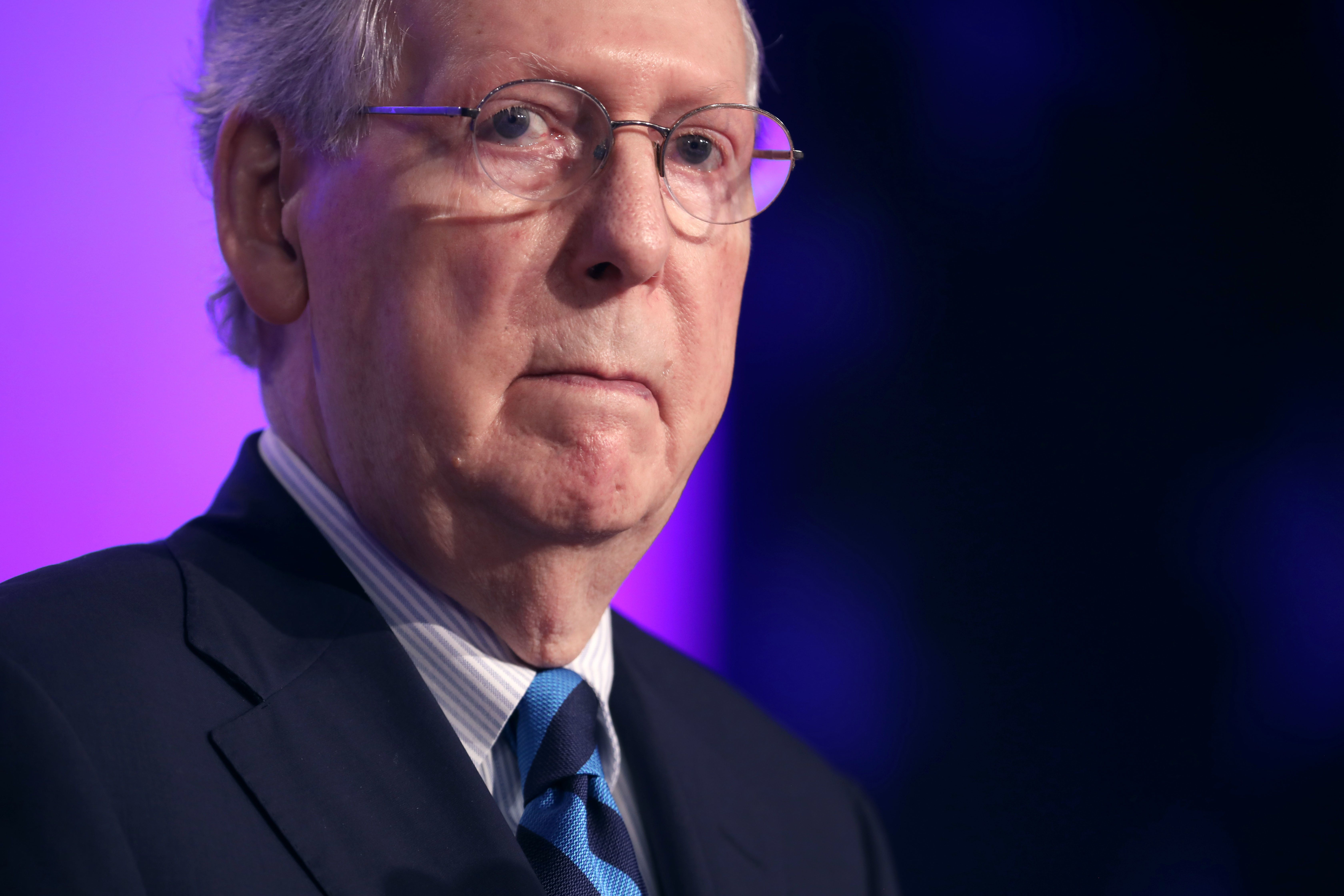 WASHINGTON, DC - SEPTEMBER 21: Senate Majority Leader Mitch McConnell (R-KY) addresses the Family Research Council's Value Voters Summit at the Omni Shoreham Hotel September 21, 2018 in Washington, DC. Hosted by the conservative Christian council, the summit is the 12th annual gathering of activists and elected officials who oppose gay marriage and abortion and support the confirmation of Judge Brett Kavanaugh to the U.S. Supreme Court. (Photo by Chip Somodevilla/Getty Images)