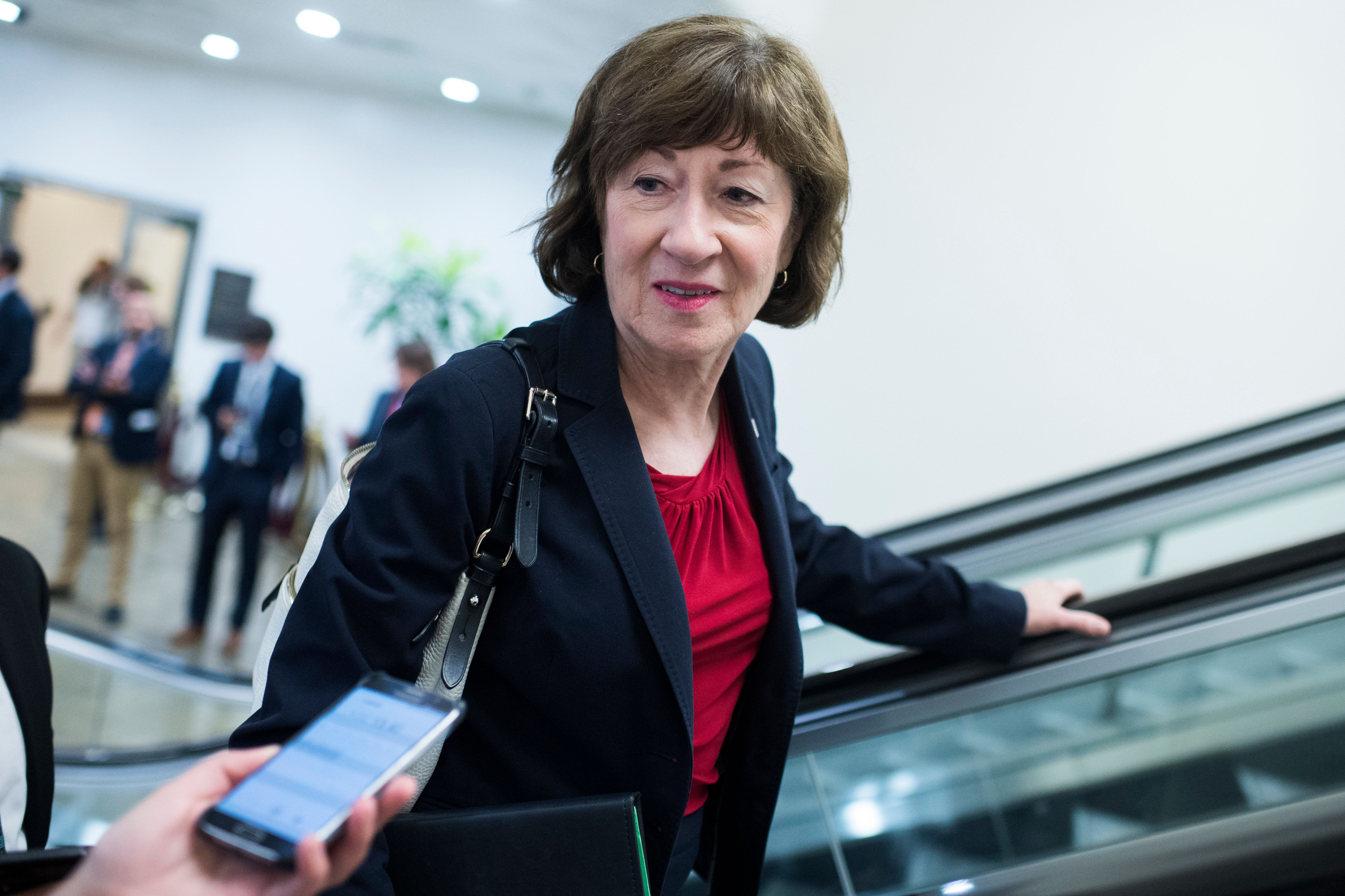 UNITED STATES - JULY 17: Sen. Susan Collins, R-Maine, talks with reporters after the Senate Policy luncheons in the Capitol on July 17, 2018. (Photo By Tom Williams/CQ Roll Call)