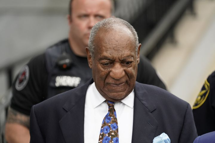 Bill Cosby leaves the Montgomery County Courthouse on Monday after the first day of his sentencing hearing in Norristown, Pen
