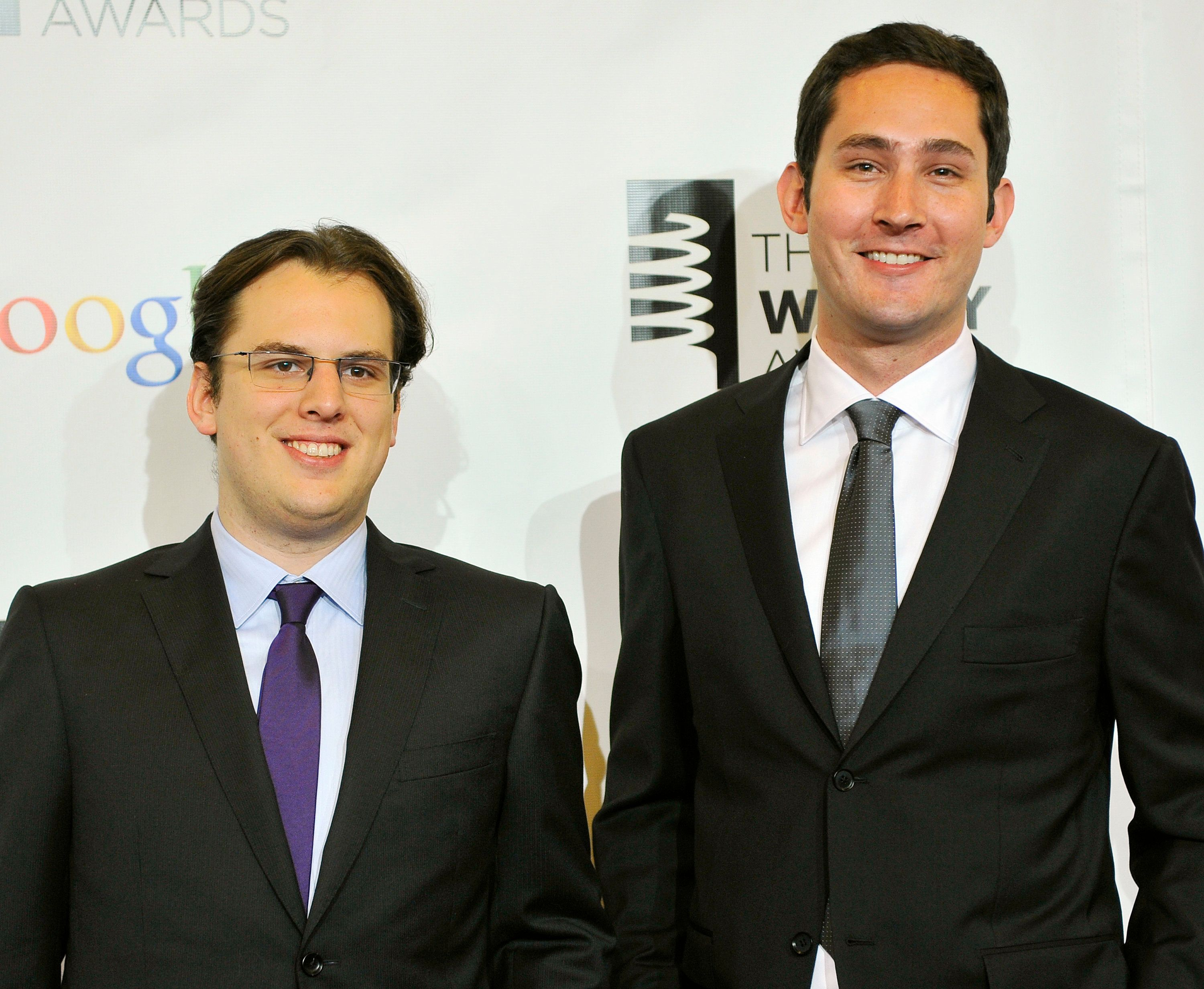 Instagram founders Mike Krieger (L) and Kevin Systrom attend the 16th annual Webby Awards in New York May, 21 2012. REUTERS/Stephen Chernin (UNITED STATES - Tags: SCIENCE TECHNOLOGY ENTERTAINMENT)