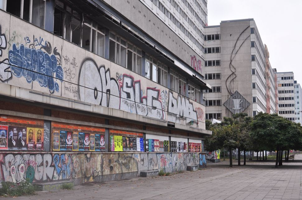 Graffiti on the Haus der Statistik building in Berlin's Alexanderplatz district. The complex has been empty since 2008.