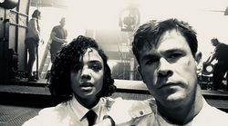 Chris Hemsworth et Tessa Thompson en tournage au