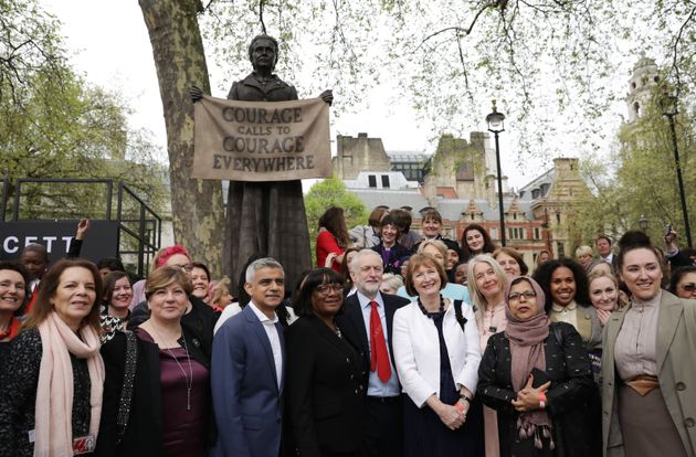 Emily Thornberry with Labour politicians at the unveiling of the Millicent Fawcett statue in Parliament