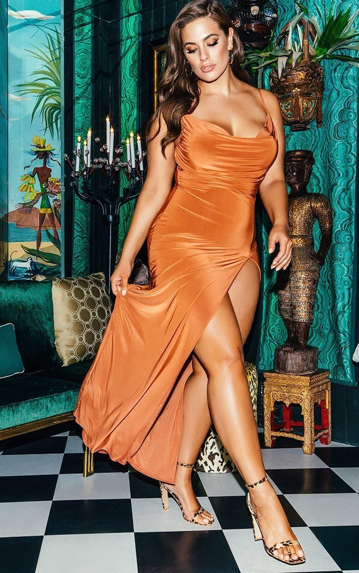 "<strong>Sizes</strong>: 0 to 24<br><a href=""https://www.prettylittlething.us/terracotta-slinky-ruched-drape-split-leg-maxi-dr"