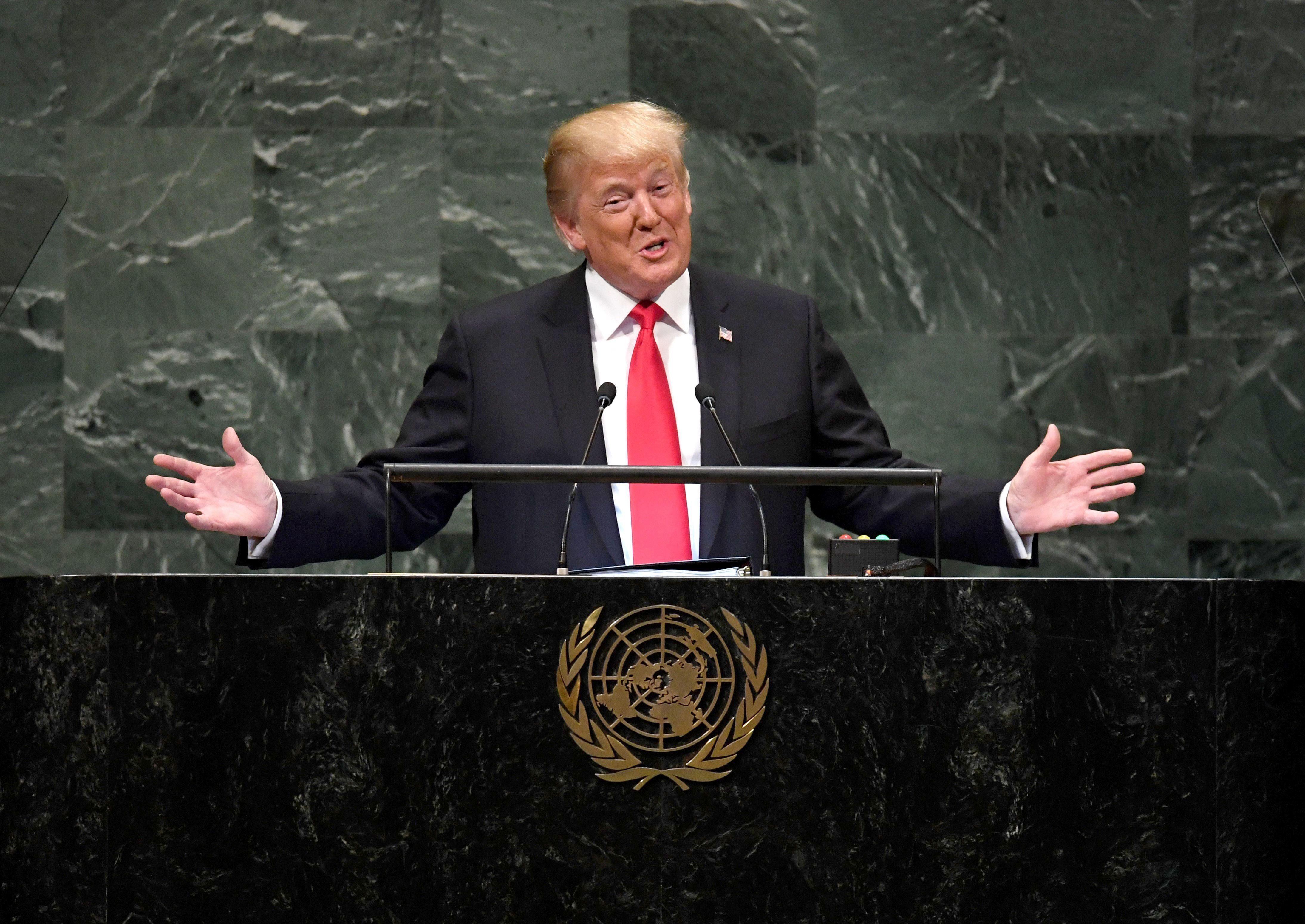 US President Donald Trump addresses the 73rd session of the General Assembly at the United Nations in New York September 25, 2018. (Photo by TIMOTHY A. CLARY / AFP)        (Photo credit should read TIMOTHY A. CLARY/AFP/Getty Images)