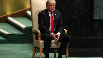 U.S. President Donald Trump sits in the chair reserved for heads of state before delivering his address during the 73rd session of the United Nations General Assembly at U.N. headquarters in New York, U.S., September 25, 2018. REUTERS/Carlo Allegri