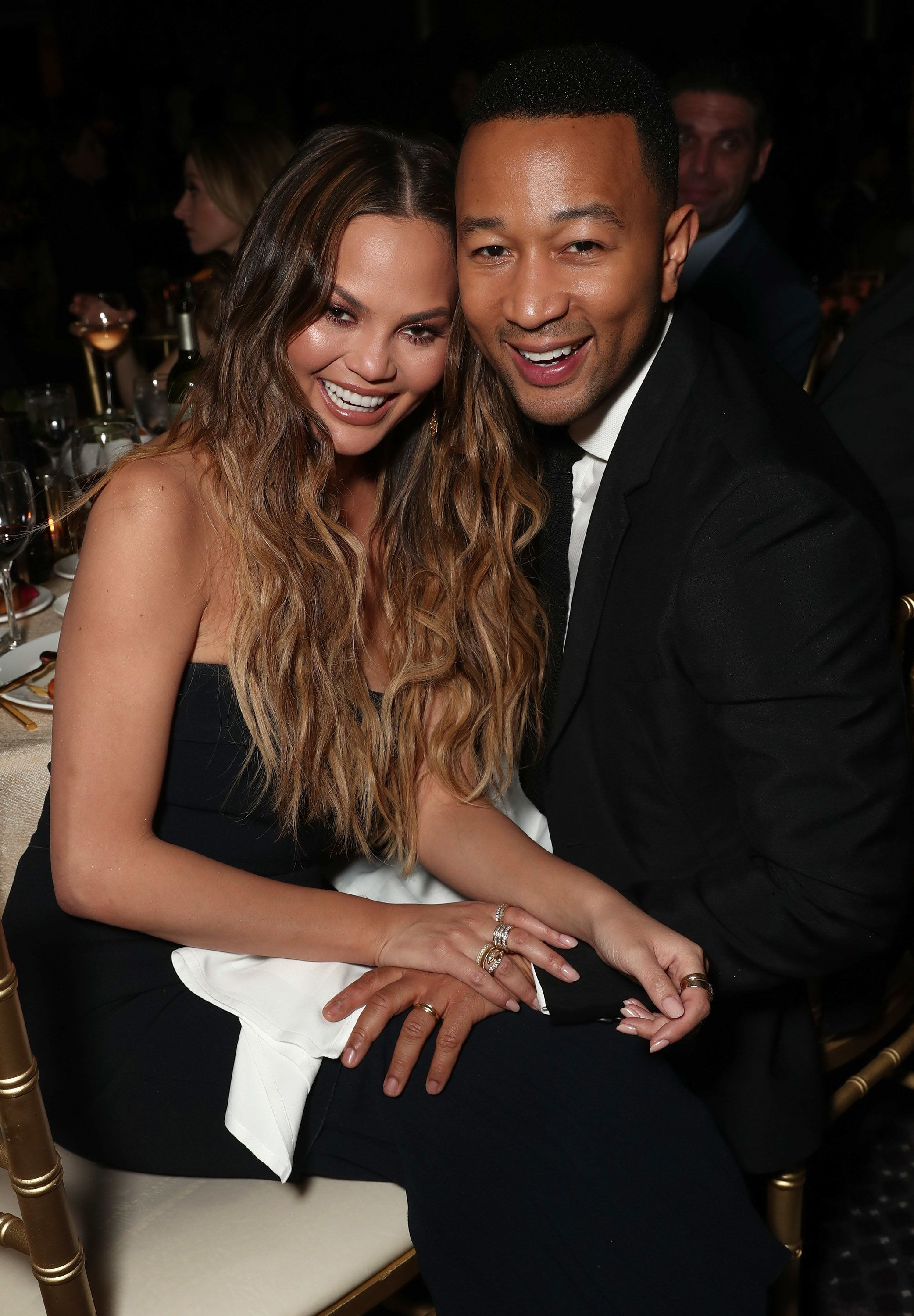 BEVERLY HILLS, CA - JANUARY 28:  Chrissy Teigen and John Legend attend the 28th Annual Producers Guild Awards at The Beverly Hilton Hotel on January 28, 2017 in Beverly Hills, California.  (Photo by Todd Williamson/Getty Images)