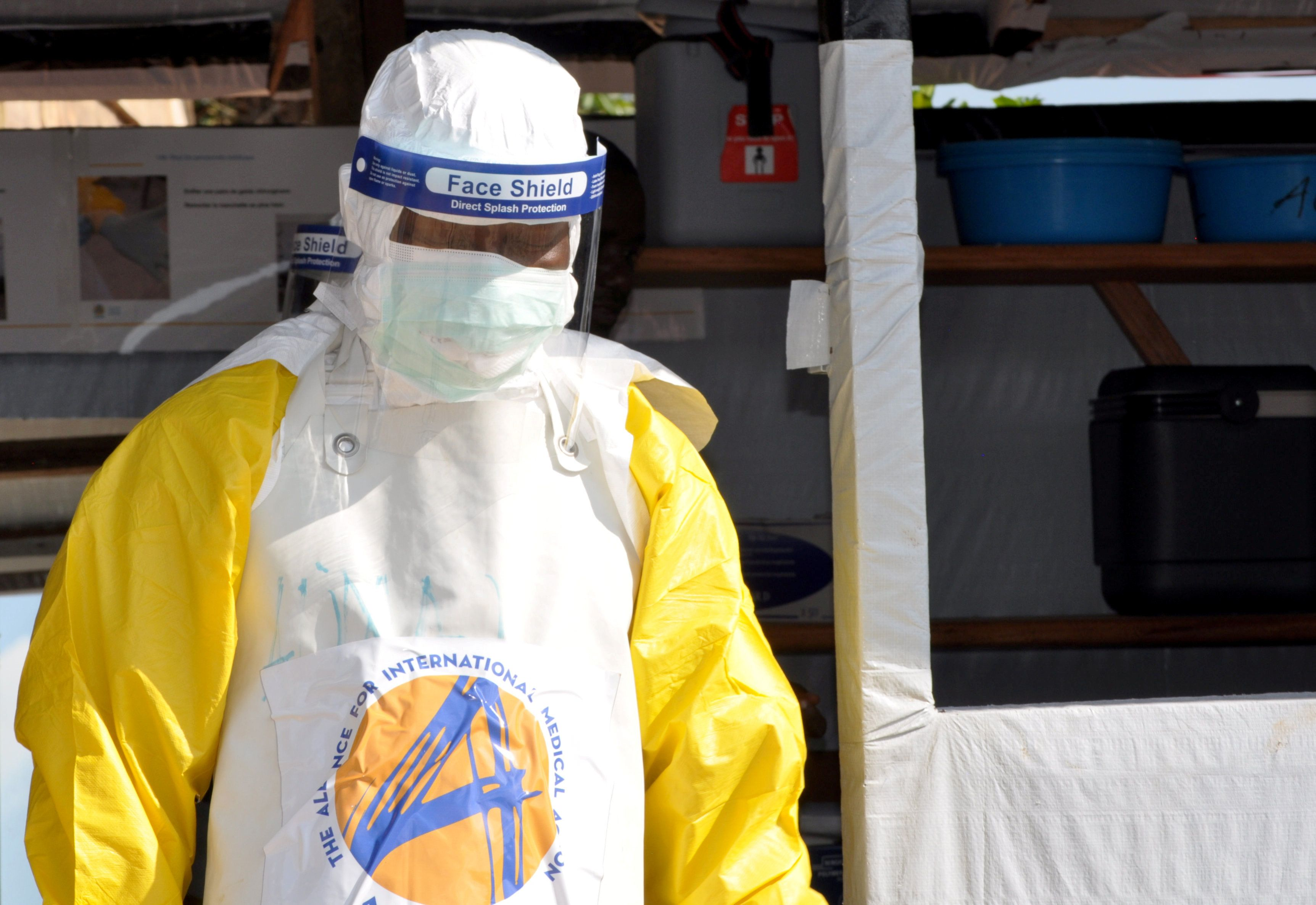 A medical worker wears a protective suit as he prepares to administer Ebola patient care at The Alliance for International Medical Action (ALIMA) treatment center in Beni, North Kivu province of the Democratic Republic of Congo September 6, 2018. Picture taken September 6, 2018. REUTERS/Fiston Mahamba
