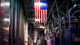 OAK RIDGE, TENNESSEE - APRIL 17: An American flag hangs from the ceiling of the Klystron Gallery at the Spallation Neutron Source in Oak Ridge, Tennessee on April 17, 2017. (Photo by Jacob Biba for The Washington Post via Getty Images)