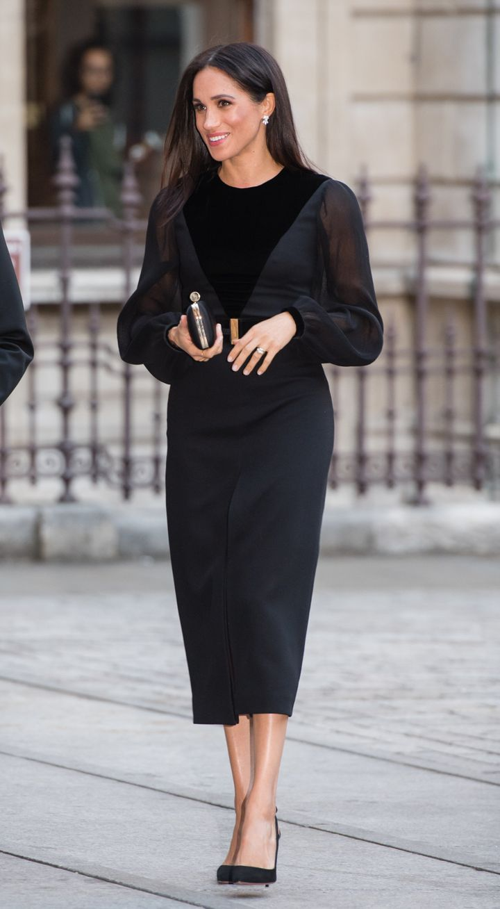 "Meghan, Duchess of Sussex, at the ""Oceania"" exhibit at the Royal Academy of Arts in London on Tuesday."