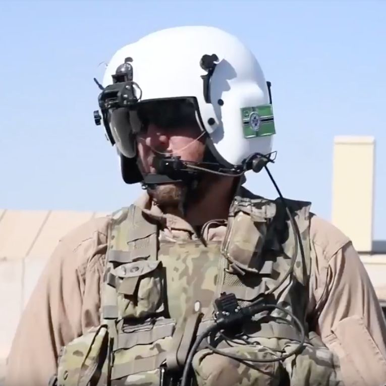 United States MAG Aerospace mercenary in Afghanistan with 'Kekistan' nazi flag on his helmet