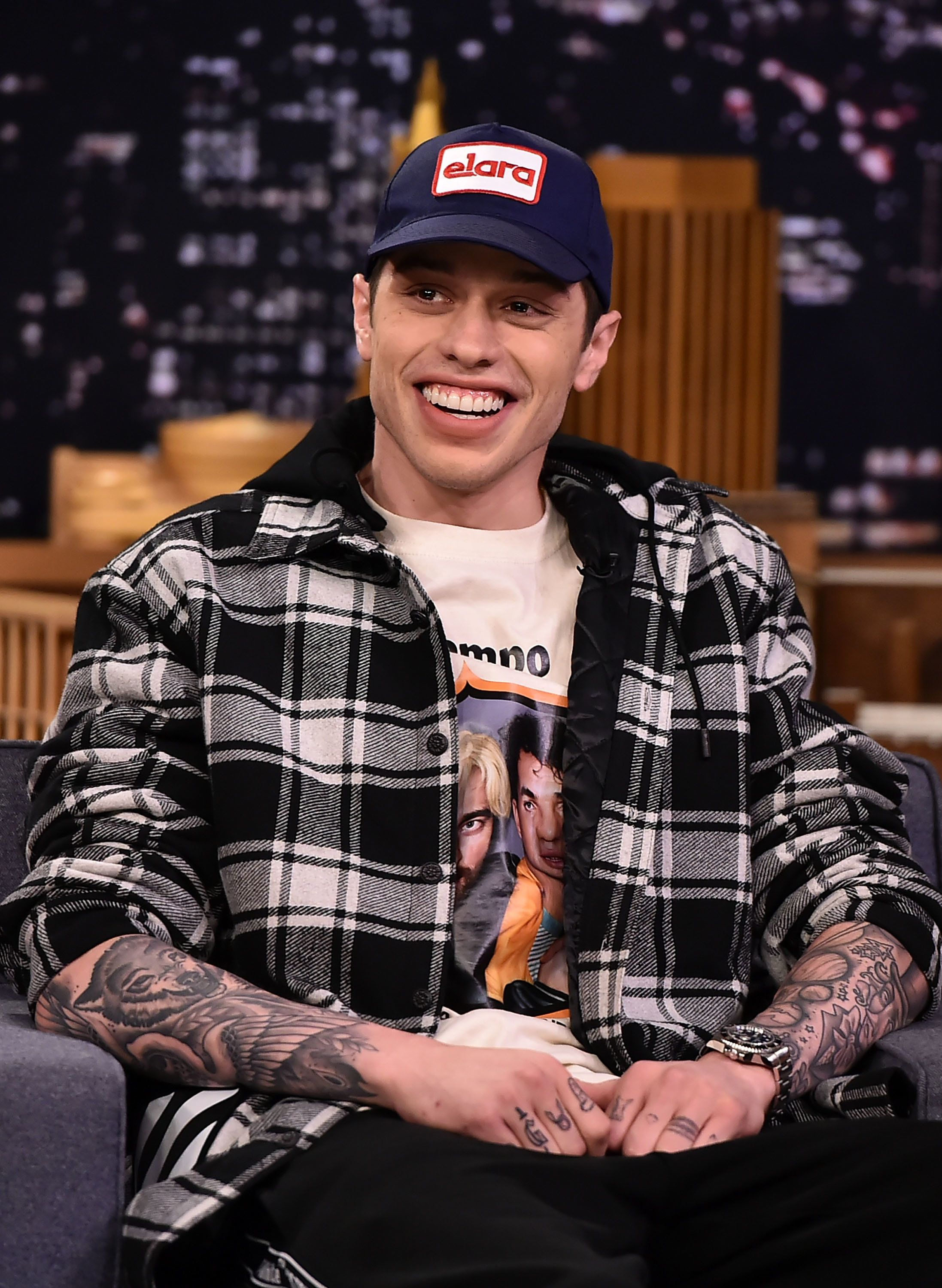 """Pete Davidson visits """"The Tonight Show Starring Jimmy Fallon."""" The current """"SNL"""" cast member didn't mince words on """"The Howard Stern Show"""" when he was asked what he thought of Chase's comments about """"SNL."""""""