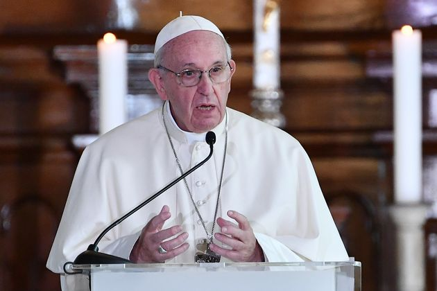 Pope Francis gives a speech during an ecumenical meeting with young people on Sept. 25, 2018, at the...