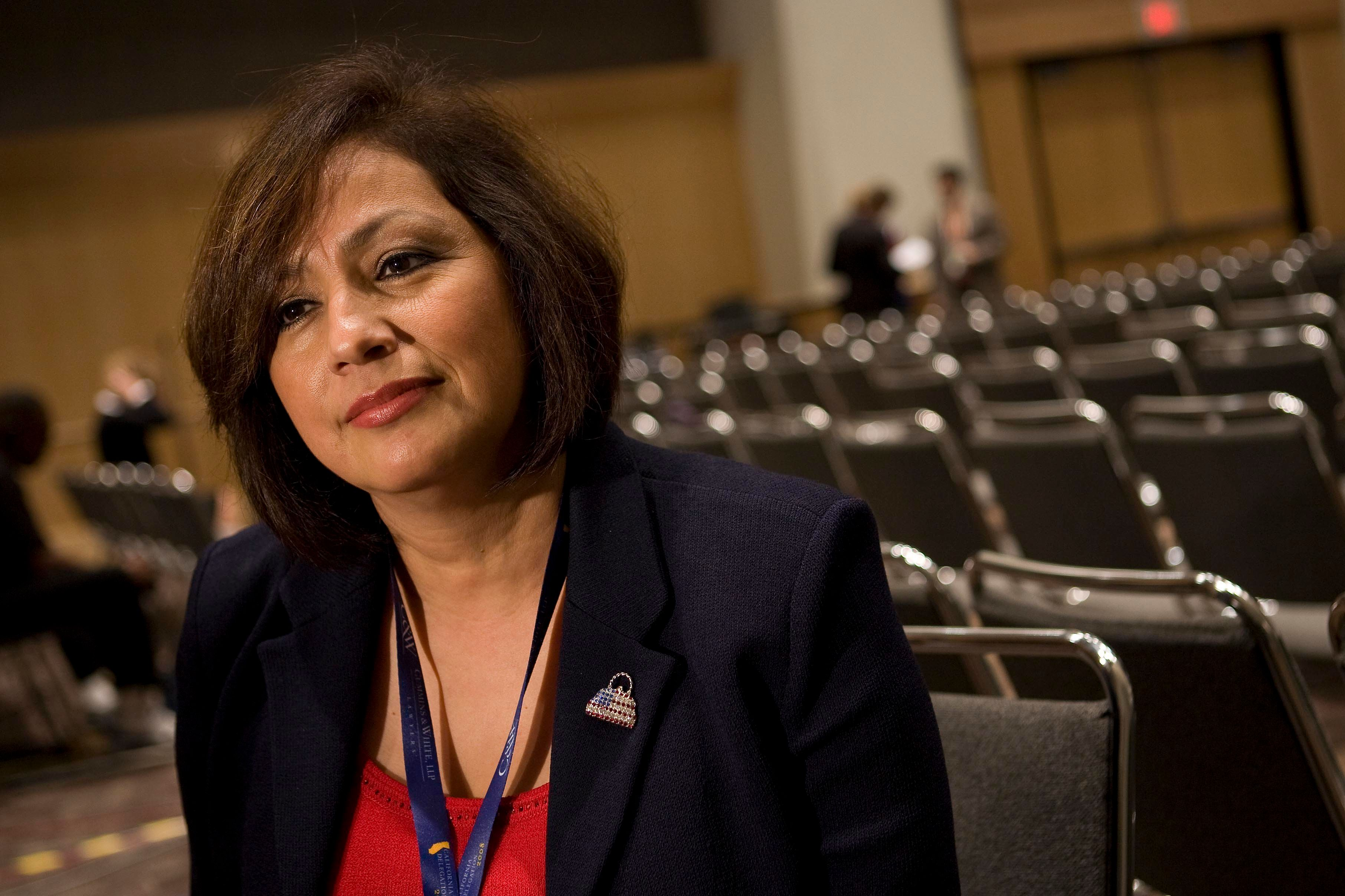 UNITED STATES - SEPTEMBER 03:  Rosario Marin, former U.S. treasurer, speaks during an interview before day three of the Republican National Convention (RNC) at the Xcel Energy Center in St. Paul, Minnesota, U.S., on Wednesday, Sept. 3, 2008. The RNC will run until Sept. 4.  (Photo by Joshua Roberts/Bloomberg via Getty Images)
