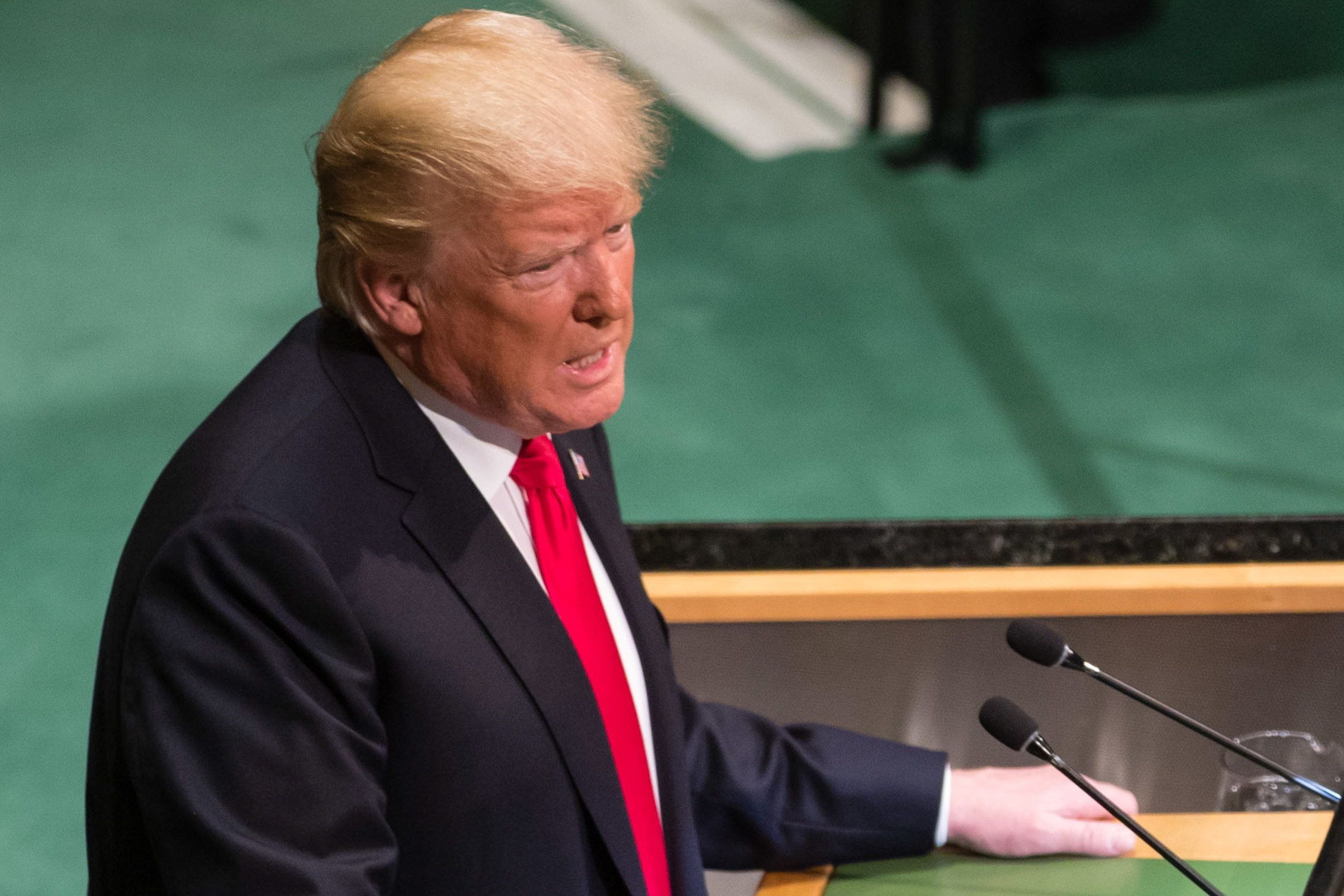 NEW YORK CITY, UNITED STATES  SEPTEMBER 25, 2018: US President Donald Trump makes remarks at the 73rd session of the United Nations General Assembly at the UN headquarters. Mikhail Palinchak/Press Office of the President of Ukraine/TASS (Photo by Mikhail Palinchak\TASS via Getty Images)