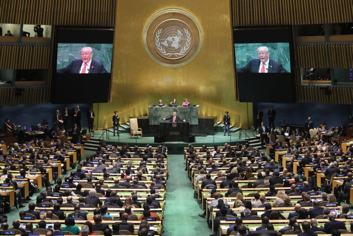 President Donald Trump addresses the U.N. General Assembly on Tuesday in New York City.