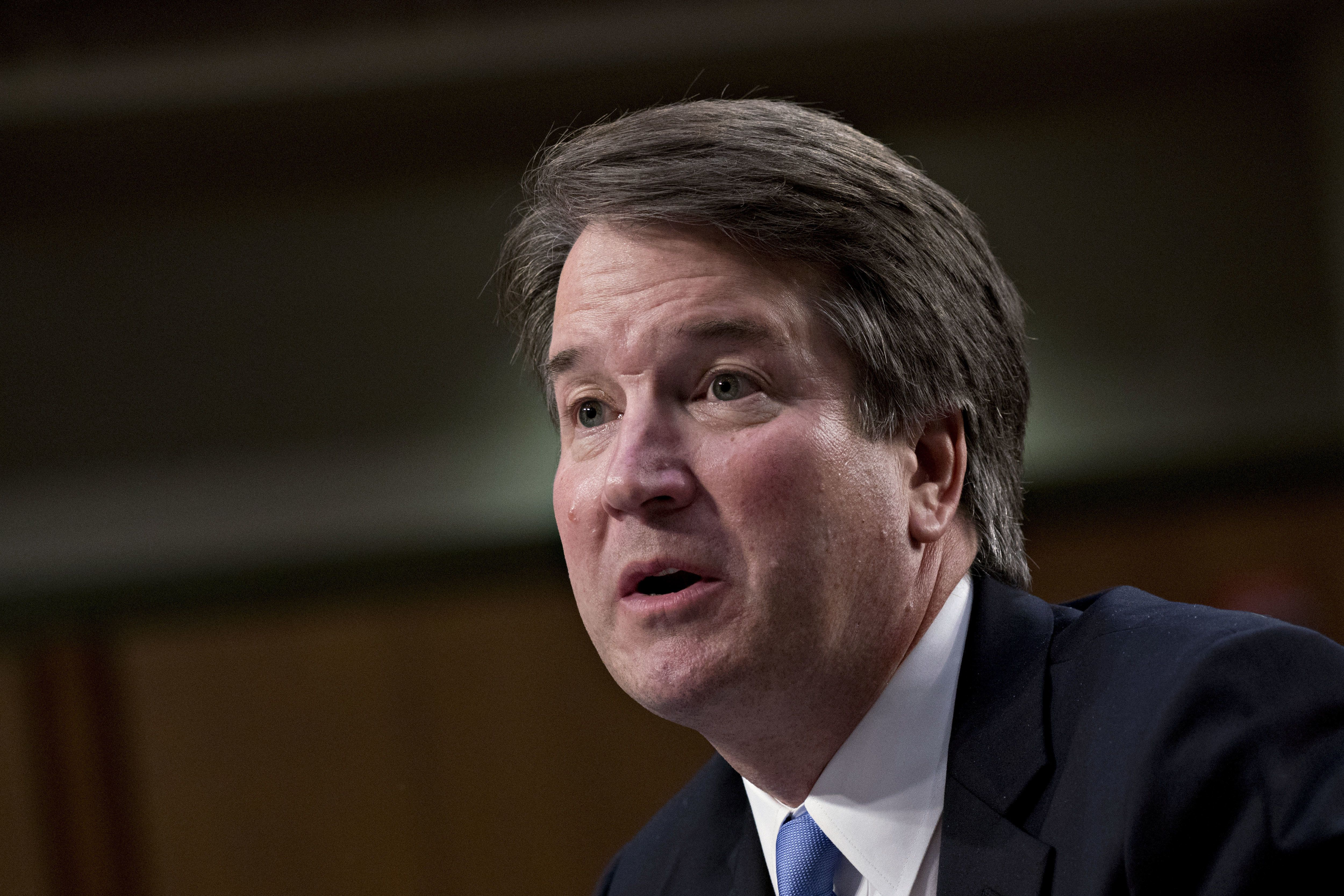 Brett Kavanaugh, U.S. Supreme Court associate justice nominee for U.S. President Donald Trump, speaks during a Senate Judiciary Committee confirmation hearing in Washington, D.C., U.S., on Thursday, Sept. 6, 2018. Kavanaugh yesterday steered clear of trouble in a marathon day before a Senate panel, refusing to say whether he would overturn the constitutional right to abortion or disqualify himself from any case directly involving Trump. Photographer: Andrew Harrer/Bloomberg via Getty Images