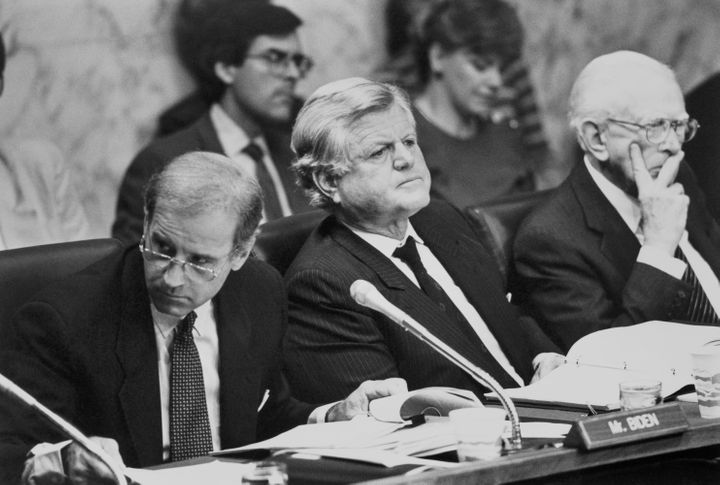 The Democrats on the Senate Judiciary Committee in 1991 were all white men, including Sens. Joe Biden, left, Ted Kennedy and