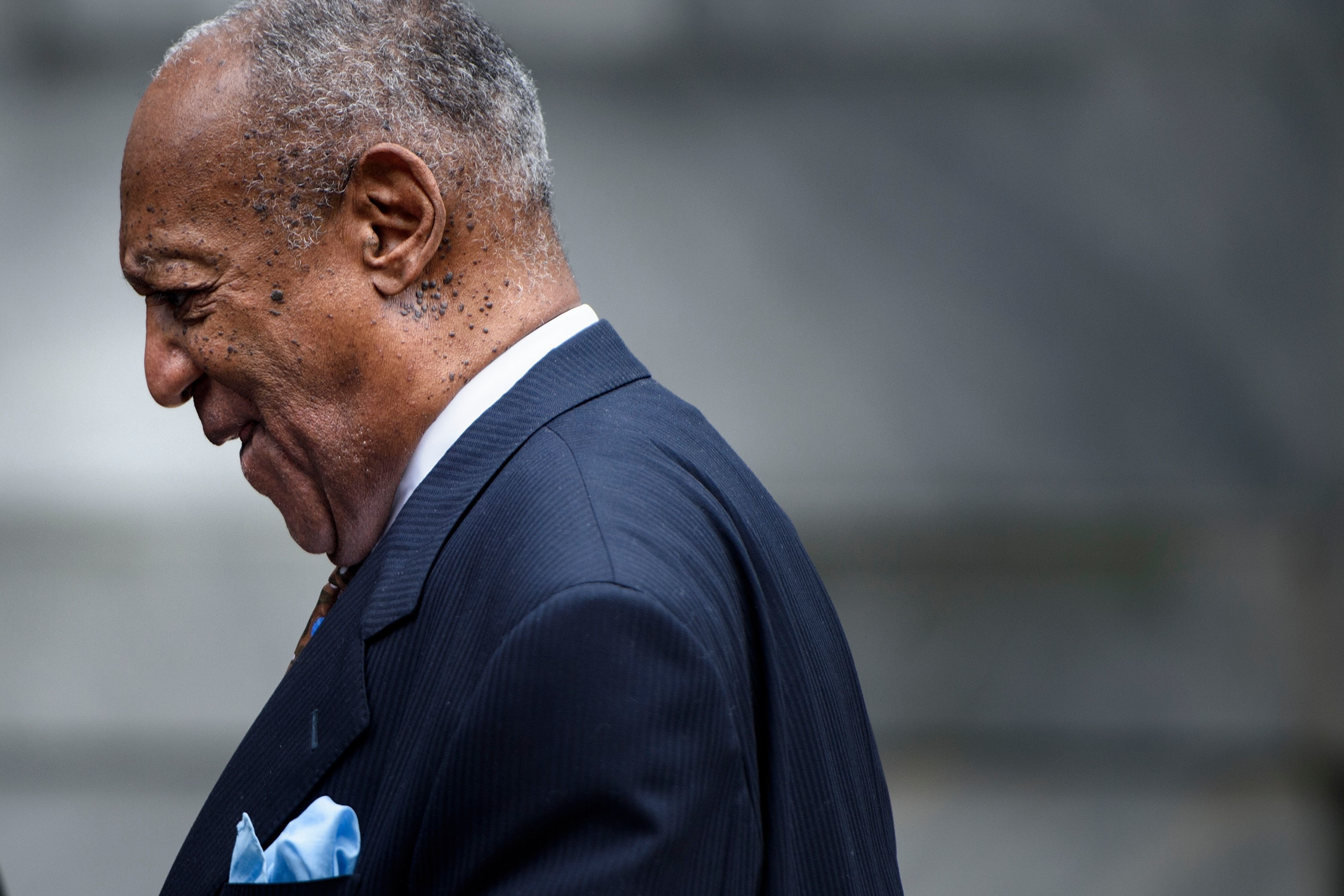 Disgraced comedian Bill Cosby, before he was led away in handcuffs to begin his prison sentence for drugging and sexually ass