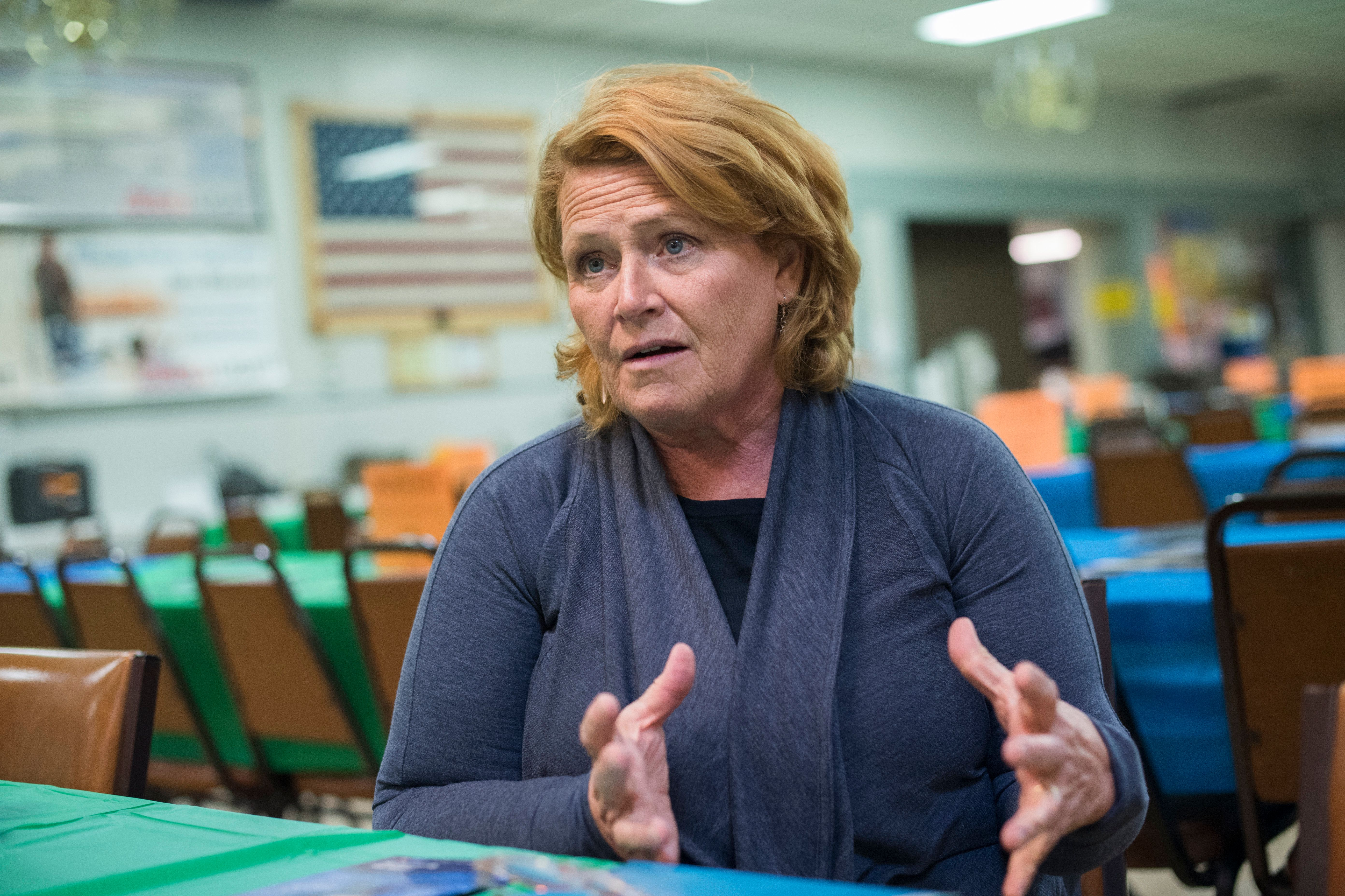 UNITED STATES - AUGUST 17: Sen. Heidi Heitkamp, D-N.D., is interviewed at Amvets Club in Bismarck, N.D., on August 17, 2018. Heitkamp is running against  Rep. Kevin Cramer, R-N.D., for the North Dakota Senate seat. (Photo By Tom Williams/CQ Roll Call)
