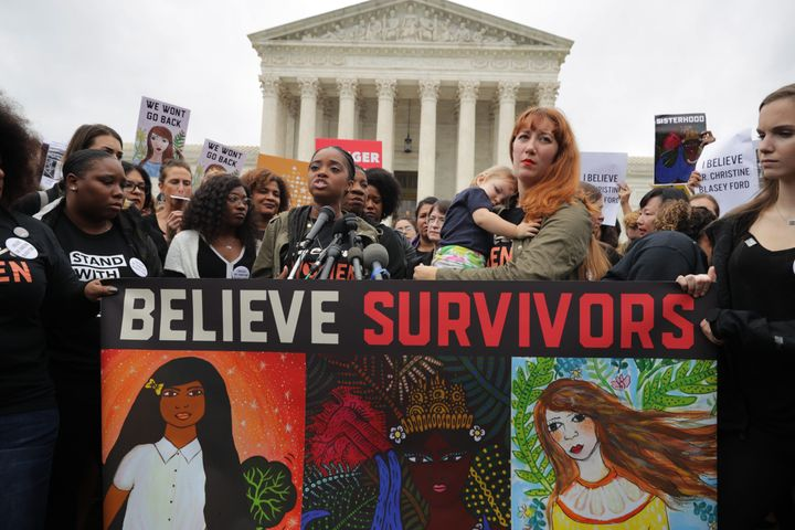 Women rallied on the steps of the Supreme Court on Monday against the confirmation of Brett Kavanaugh.