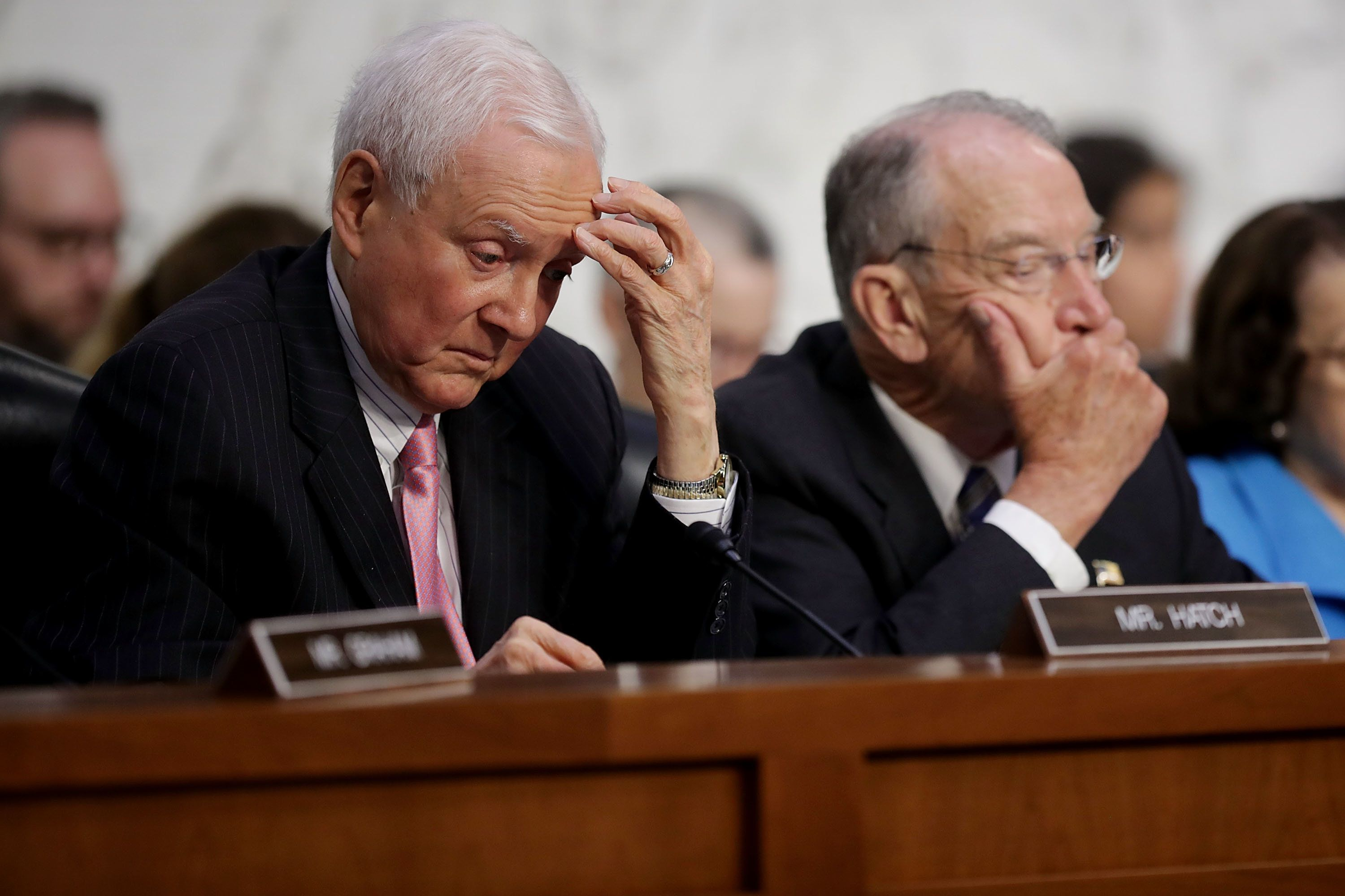 WASHINGTON, DC - SEPTEMBER 05:  Senate Judiciary Committee member Orrin Hatch (R-UT) (L) and Chairman Charles Grassley (R-IA) listen to testimony by Supreme Court nominee Judge Brett Kavanaugh during the second day of his confirmation hearing on Capitol Hill September 5, 2018 in Washington, DC. Kavanaugh was nominated by President Donald Trump to fill the vacancy on the court left by retiring Associate Justice Anthony Kennedy.  (Photo by Chip Somodevilla/Getty Images)