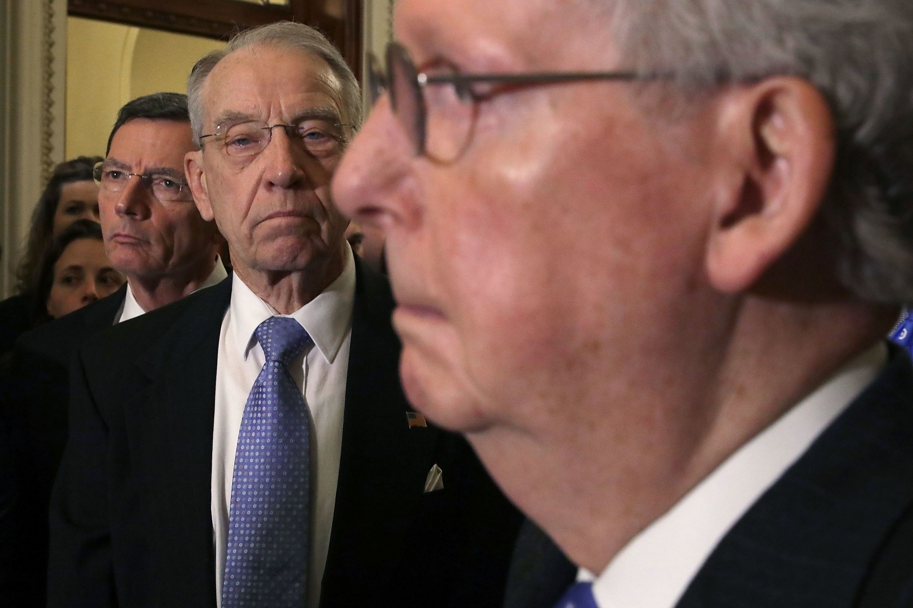 WASHINGTON, DC - APRIL 04:  Senate Judiciary Committee Chairman Charles Grassley (R-IA) (C) joins Sen. John Barrasso (R-WY) (L) and Majority Leader Mitch McConnell (R-KY) for a news conference following the weekly Republican policy luncheon at the U.S. Capitol April 4, 2017 in Washington, DC. McConnell said that Republican majority will invoke the 'nuclear option' in order to confirm Judge Neil Gorsuch to the U.S. Supreme Court this week.  (Photo by Chip Somodevilla/Getty Images)