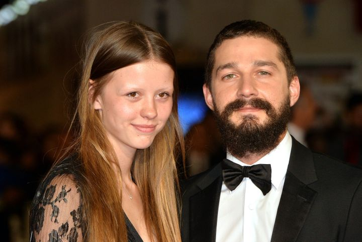 "Mia Goth and Shia LaBeouf at a screening of ""Fury"" in 2014."