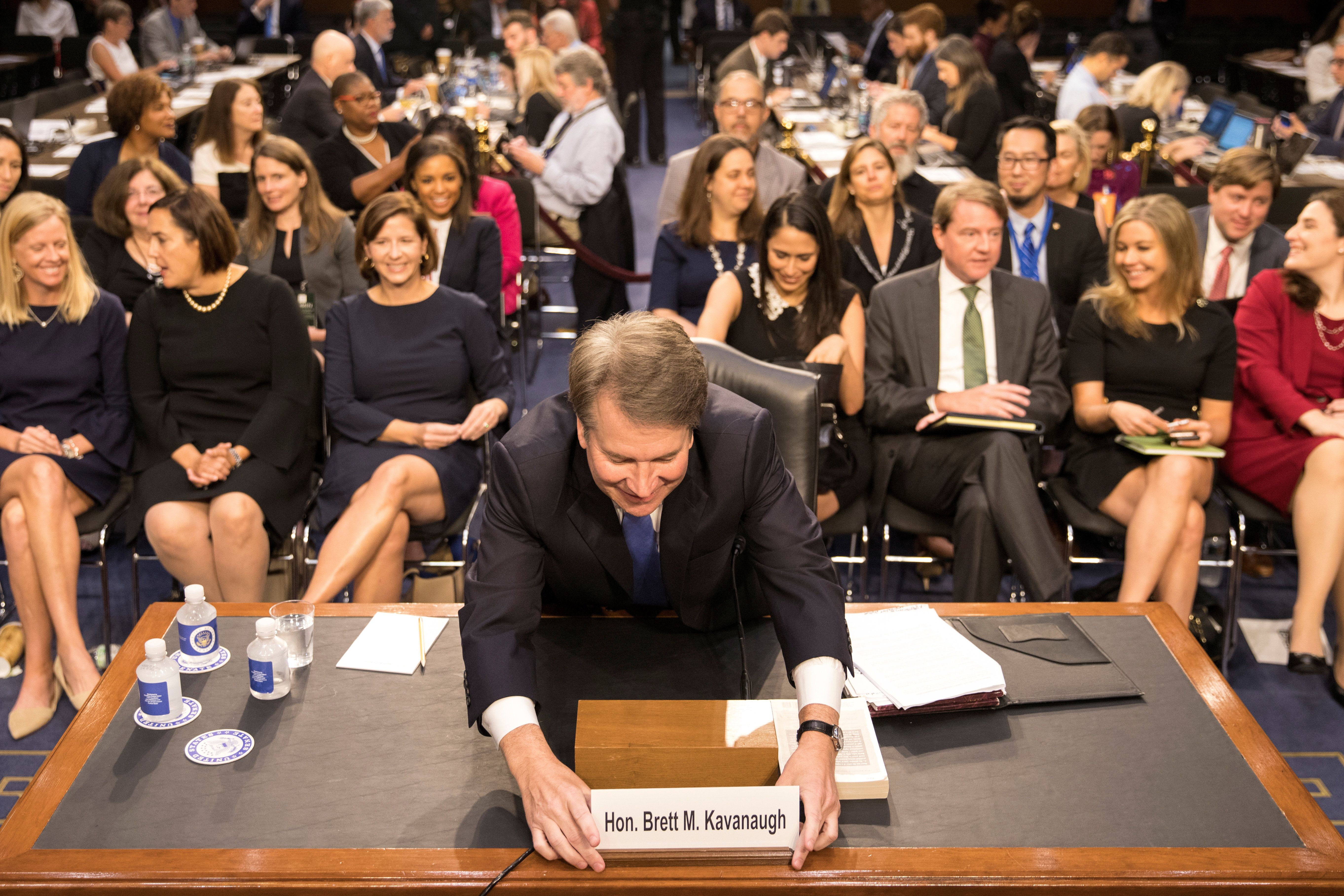 Supreme Court nominee Brett Kavanaugh prepares to testify during the third day of his confirmation hearing before the Senate Judiciary Committee on Capitol Hill in Washington, U.S., September 6, 2018. REUTERS/Alex Wroblewski