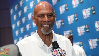 JOHANNESBURG, SOUTH AFRICA - AUGUST 1: NBA Legend Kareem Abdul-Jabbar speaks to the media during the Opening Ceremony at the Basketball Without Boarders Africa program at the American International School of Johannesburg on August 1, 2018 in Gauteng province of Johannesburg, South Africa.  NOTE TO USER: User expressly acknowledges and agrees that, by downloading and or using this photograph, User is consenting to the terms and conditions of the Getty Images License Agreement. Mandatory Copyright Notice: Copyright 2018 NBAE (Photo by Joe Murphy/NBAE via Getty Images)