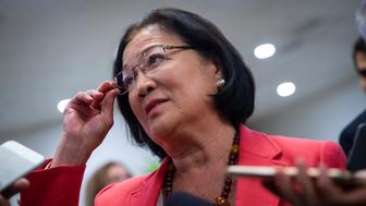 WASHINGTON, DC - SEPTEMBER 24: Sen. Mazie Hirono (D-HI) speaks to reporters on her way to a vote on Capitol Hill, September 24, 2018 in Washington, DC. Christine Blasey Ford, who has accused Kavanaugh of sexual assault, has agreed to testify before the Senate Judiciary Committee on Thursday. (Photo by Drew Angerer/Getty Images)