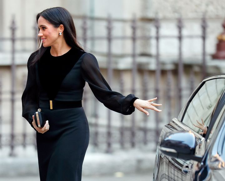 "Meghan, Duchess of Sussex, arrives to open ""Oceania"" at the Royal Academy of Arts on Sept. 25, 2018 in London."