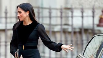 LONDON, UNITED KINGDOM - SEPTEMBER 25: (EMBARGOED FOR PUBLICATION IN UK NEWSPAPERS UNTIL 24 HOURS AFTER CREATE DATE AND TIME) Meghan, Duchess of Sussex arrives to open 'Oceania' at the Royal Academy of Arts on September 25, 2018 in London, England. 'Oceania' is the first-ever major survey of Oceanic art to be held in the United Kingdom. (Photo by Max Mumby/Indigo/Getty Images)