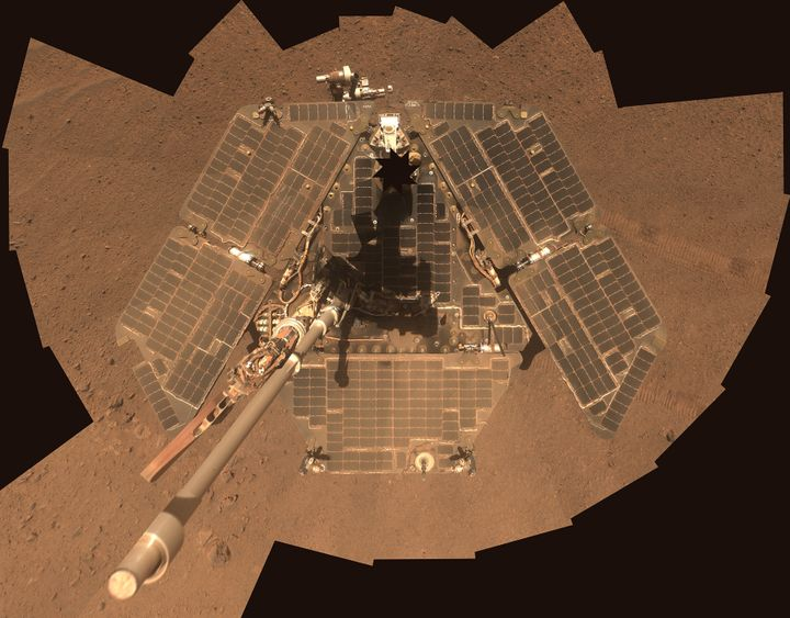 NASA's Mars Exploration Rover Opportunity, seen in 2014, has gone into hibernation mode after a global dust storm blocked its