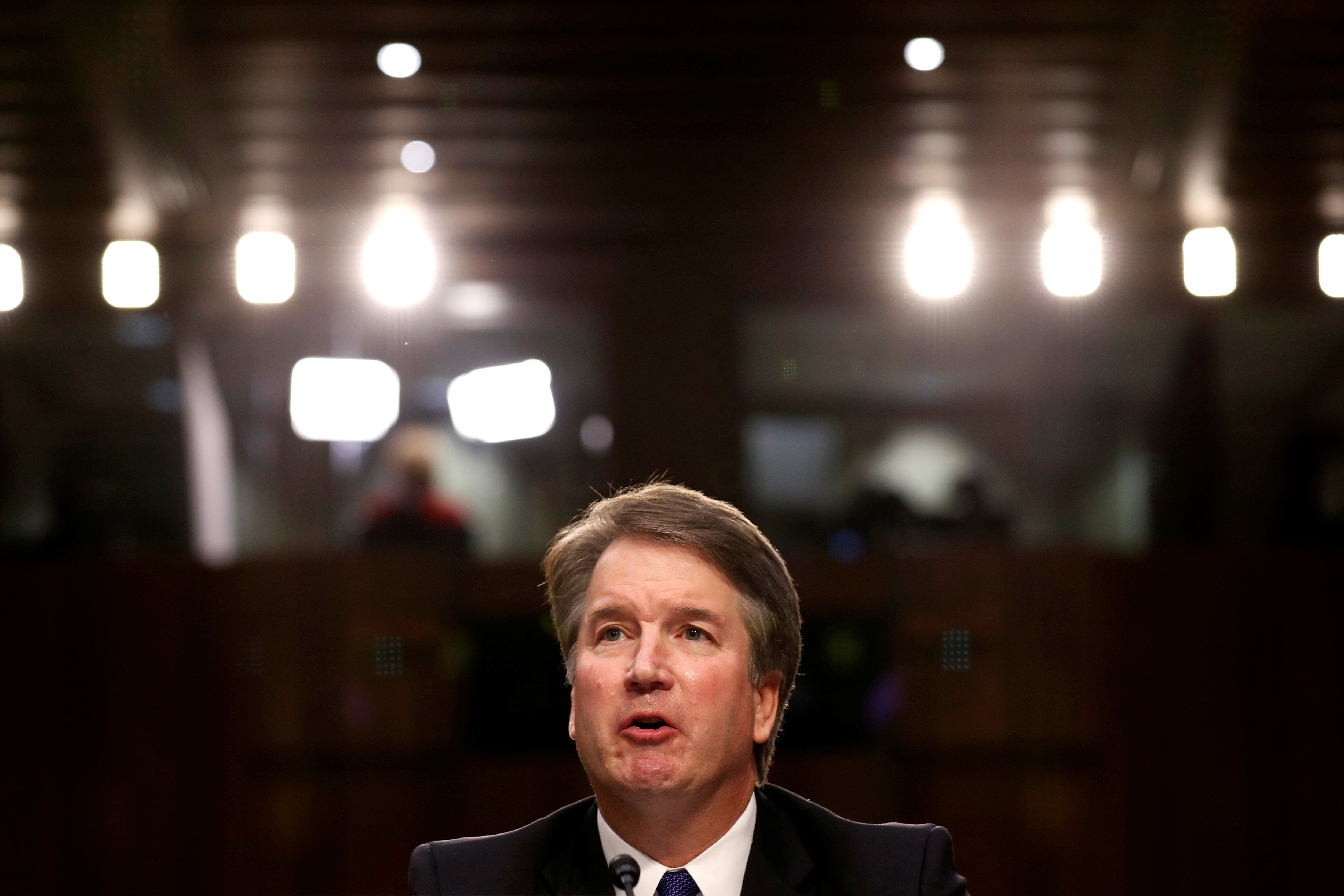 U.S. Supreme Court nominee judge Brett Kavanaugh speaks during a Senate Judiciary Committee confirmation hearing on Capitol Hill in Washington, U.S., September 4, 2018. REUTERS/Joshua Roberts