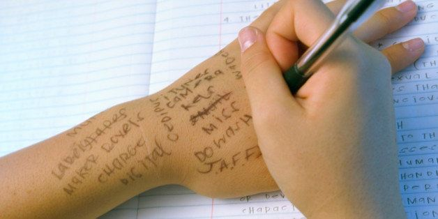 Writing Notes On Paper And Your Hand