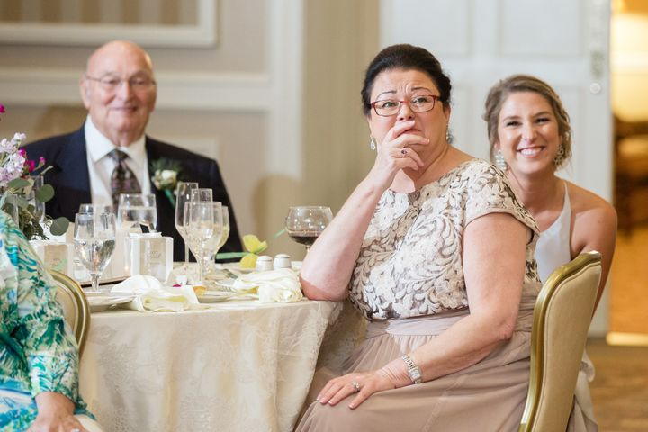 3f40f57efad Bride Surprises Parents By Changing Into Mom s Gorgeous 1979 Wedding ...