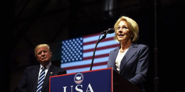 Betsy DeVos, picked by US President-elect Donald Trump for education secretary, speaks during the USA Thank You Tour December