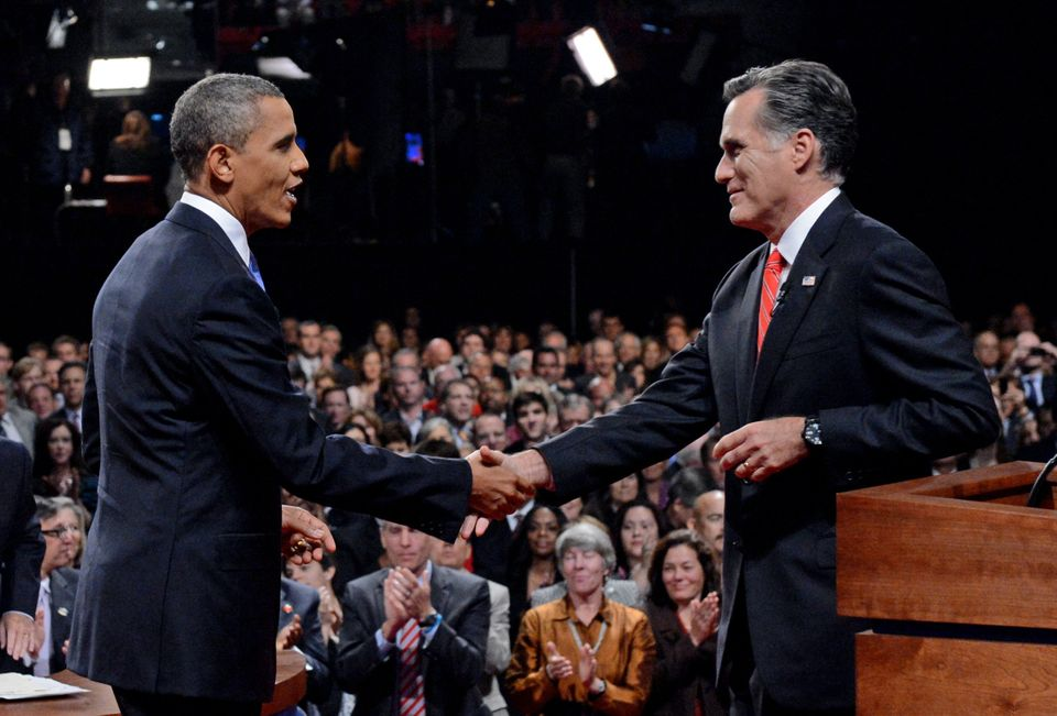 President Barack Obama shakes hands with Republican presidential nominee Mitt Romney after the first presidential debate at t